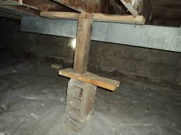 Improper Support Post in Crawl Space